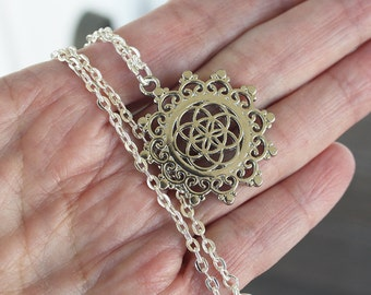 Seed of Life Necklace, silver necklace, symbolic necklace, yoga necklace, religious necklace, sacred geometry, mystical necklace boho