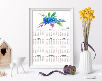 Blue Magical 2018 Yearly Calendar, Watercolor Calendar, Calendar Full Page Printable, Calendar printable, At-A-Glance 2018 Calendar