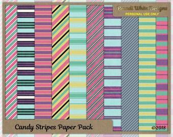 Stripe Paper, Printable Stripes, Pastel Stripes, Candy Stripes, Digital Backgrounds, paper, printable, INSTANT DOWNLOAD