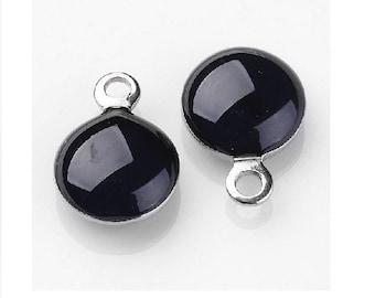 10 charms 11x8mm black enamel steel