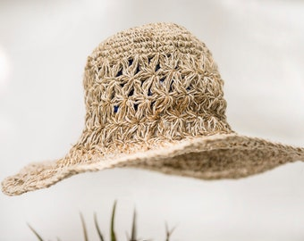 "Summer Hat ""nature"" with malleable brim, hemp and cotton, hat"
