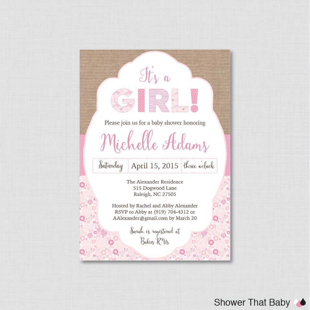 Shabby Chic Baby Shower Invitation Printable or Printed