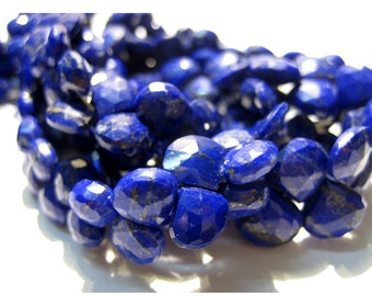 Blue Lapis Lazuli - AAA Heart shaped  Briolettes - 7x7mm To 8x8mm - 4 Inch Half Strand - 22 Pieces Approx