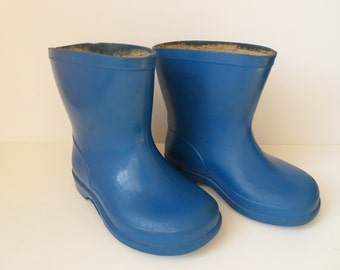 Vintage Rain Boots, Baby Rubber Boots, Children Gumboots, Blue Toddlers Boots, Child Footwear, Kids Boots, Collectible Shoes, 1960s Unisex