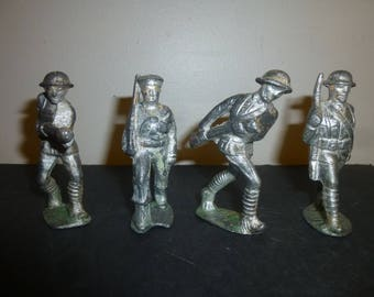 """Antique Tin Toy Soldiers - Set of 4 WW1 Era Soldiers - 3.25"""" tall - Marching Navy Seaman and Soldier - 2 Charging Soldiers"""