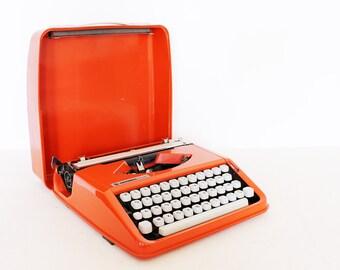 RESERVED for JESS /// Vintage manual orange Olivetti Typewriter