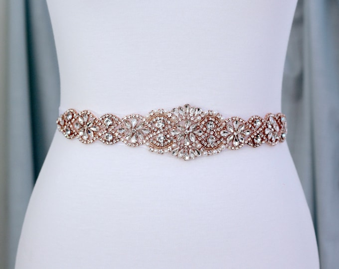 Rose Gold Bridal Belt, Bridal Sash, Wedding Belt, Wedding Sash Rhinestone and Pearl Sash B03RG