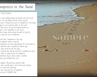 """Inspirational Frame-""""Footprints in the Sand"""" Made To Encourage!"""