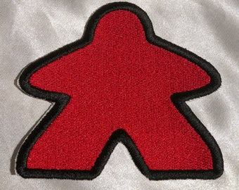 """Embroidered Red Classic Meeple Board Game Game Player Piece 3.5"""" Patch Iron On Sew On USA"""