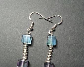 Rainbow Fluorite and Sterling Silver earrings