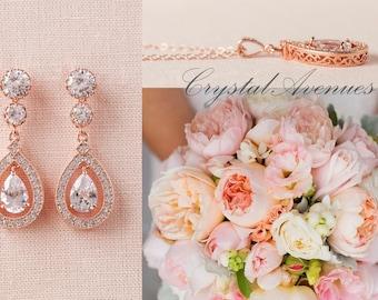 Rose gold Bridal Earrings, Swarovski Crystal wedding earrings, Bridal Jewelry, Delicate Filigree,  Bridesmaids, Dainty Misty Bridal Earrings