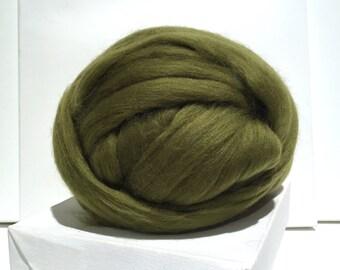 Olive Green merino, wool rovinf, Needle Felting wool, Spinning Fiber, olive green Merino roving, wet felting, nuno felting wool