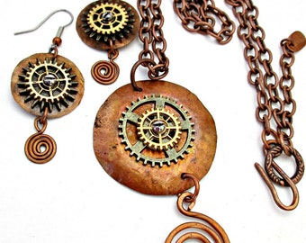 Steampunk necklace and earrings,  Copper Necklace Set,  BOHO,  Industrial,  Gears, Spirals, Copper Earrings, Handmade, Forged  #419