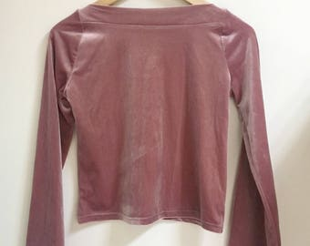 Velvet bell sleeves blouse blush pink xs