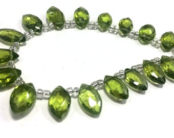 AAA quality natural peridot faceted marquise briolettes loose gemstone beads 20 pec peridot stone beads