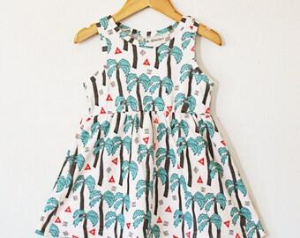 Tropical twirl dress, organic baby/toddler dress in palm tree print, organic baby dress, organic toddler dress, baby dress, toddler dress