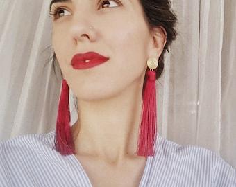 Burgundy Tassel Earrings, Burgundy Statement Earrings, Red Long Tassel Earrings, Bordeaux Fringe Earrings,  Tassel Earrings