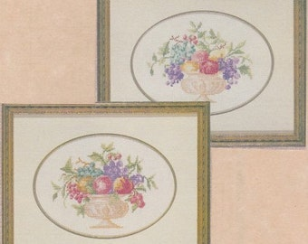 Helen Burgess Counted Thread Design. Bowl of Fruit Pattern. HB4086/4087.