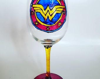 Wonder Woman Style Wine Glass