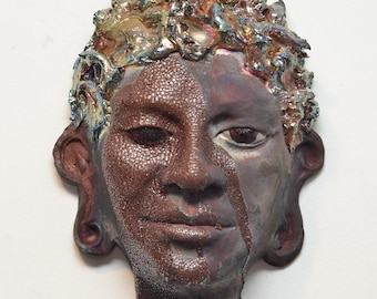 Buddha Face Mask Wall Hanging Raku Ceramics Sculpture Wall Art