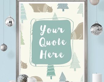 winter wall art custom quote Christmas printable blue and white nursery bear instant download 8 x 10 home decor