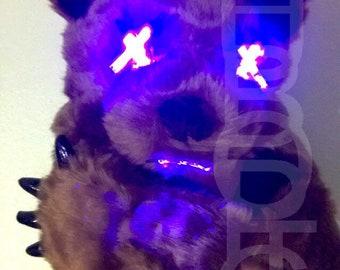 Bear Bot FX Raver Mask Grizzly Bear DJ Light Up Mask Sound Reactive Robot Bear Mask California Bear Cyber Edm Panda Party Costume Cosplay
