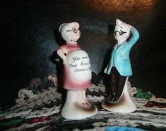 Salt & Pepper Shakers Ceramic Grandpa Grandma Funny Comic