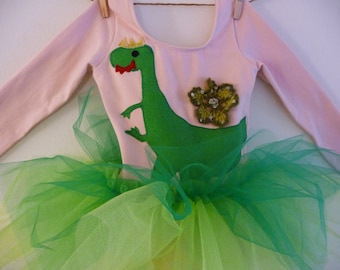 DINOSAUR PRINCESS  TUTU Long Sleeve - Dinosaur Tutu - Personalized Tutu - Size 18/24 months, 2/4 years, 4/6 years or 6/8 years and up