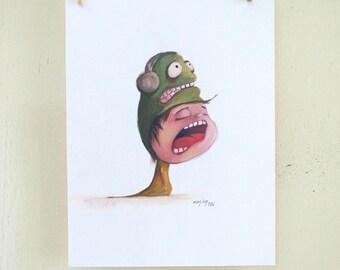 "original illustration ""Hat 03"" (oil on paper painting)"
