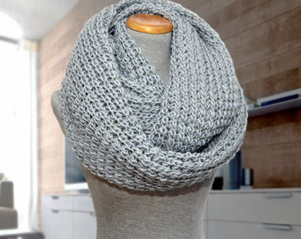 Huge knit infinity scarf. Oversized gray knitted scarf.