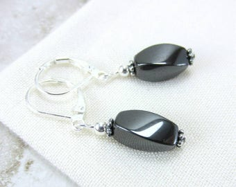 Hematite Earrings, Dark Grey Earrings, Hematite Gemstone Earrings, Grey Hematite Earrings, Hematite Bead Earrings
