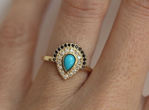 etsy wedding rings turquoise engagement ring bohemian engagement ring boho 3942