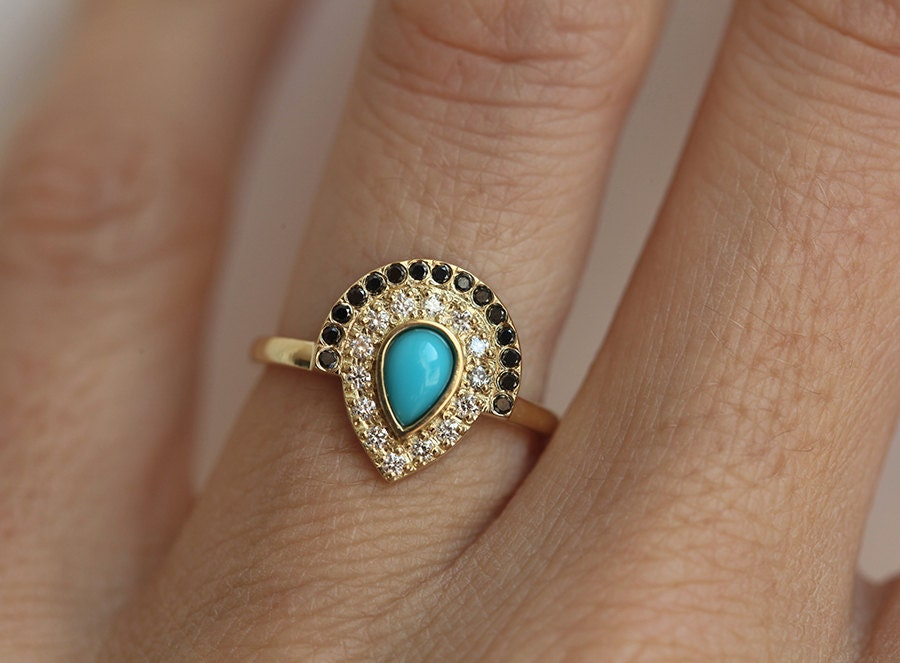 exquisite engagement ring accents band custom milgrain turquoise hand on a with cut engraving pin rings the features and this princess diamond