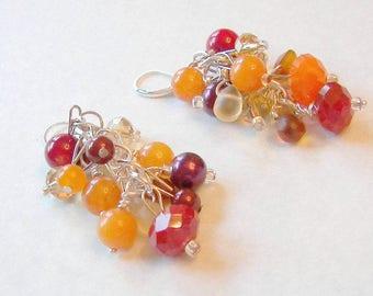 Colorful Dangle Earrings, Beaded Cluster Earrings, Orange Yellow and Red Beaded Earrings, Gift for Her Summer Wedding Bridesmaid Earrings