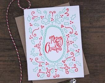 Merry Christmas Letterpress Greeting Card
