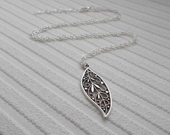 silver necklace with pendant - leaf necklace - silver jewellery - long necklace for women