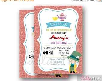 Mad Hatter Invitation PRINTABLE - Colorful Tea Party Birthday Invite for Girls