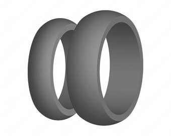 Gray Silicone Wedding Ring Set for Him & Her US Made Medical Grade Rubber Mens Womens Active Wear - Perfect Fit Guarantee - Free Shipping