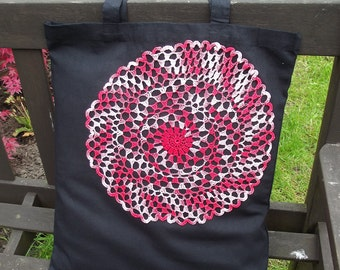 Vintage Lace covered Tote Bag - useful reusable shopping bag  - Raspberry Ripple - black and red Mandala Circle