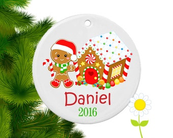 Personalized Christmas Ornament - Gingerbread Boy Tree Ornament - Holiday Ornament for Kids - Custom Gingerbread Tree Decoration for Boys