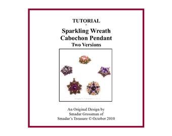 Beading Tutorial, Sparkling Wreath Pendant, Beaded Bead Cabochon. Beading Pattern with Long Magatama, Crystal Rivoli. Beadweaving PDF File