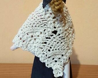Crocheted beige shawl miniature for dollhouse 1:12