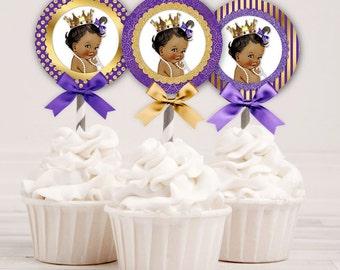 Cupcake Topper Circles | Royal Purple & Gold | African American Princess Ruffle Pants | Digital Instant Download