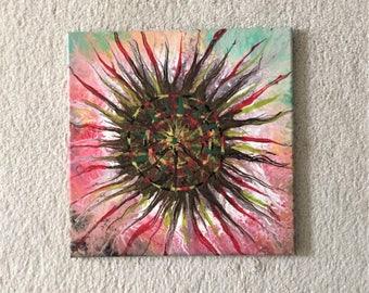 """Abstract Acrylic Painting 12""""x12"""", Acrylic Fluid Art, Acrylic Pour  - VIRUS"""