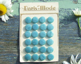 Vintage French Buttons 24 Teal Blue on Original Card, Paris Mode, Pearly Blue Buttons