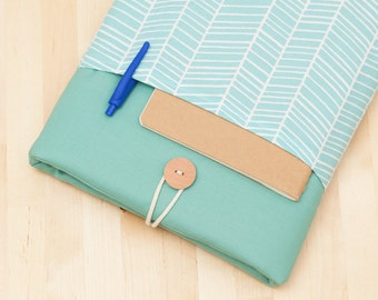 Macbook air 13 case / Laptop case  / Macbook pro 13 sleeve /  Laptop sleeve / padded with pockets  - sea lines -