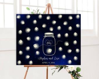Mason jar fireflies wedding guest book alternative, Rustic Wedding Guest book Alternative, Mason jar wedding decor, Starry Night wedding