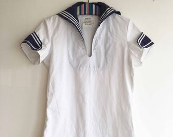 Long white vintage top with blue white striped sailor collar and detail size S
