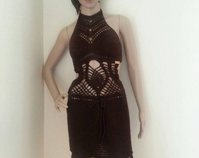 Crochet monokini, Crochet dress, Crochet cover up, festival clothing, brown monokini , beach cover up, summer dress, resort wear, party
