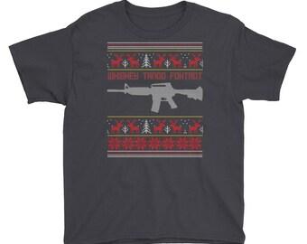 Whiskey Tango Foxtrot Kids Short Sleeve T-Shirt - Funny Ugly Christmas Sweater Shirts - Christmas Holiday Kids Shirt - Christmas Eve Attire